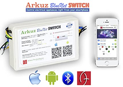 Arkuz BlueNet Smart Home Automation Switch (4 Channel) with Fan Speed  Control with Energy Saving for iPhone/iPad/iOS and Android