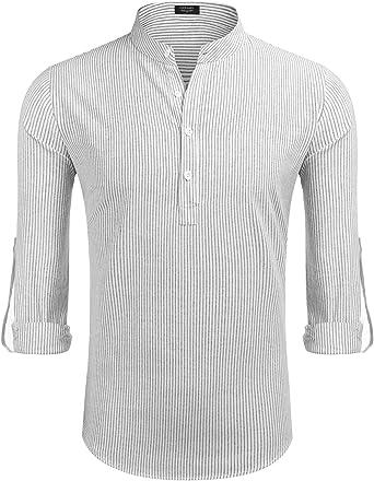 COOFANDY - Camisa para hombre de rayas de manga larga, cuello alto, corte ajustado, elástico, algodón con bolsillos en el pecho, para negocios, tiempo ...