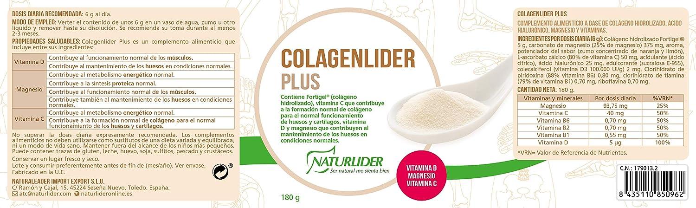Naturlider Colagenlider- Colágeno hidrolizado con Magnesio, Acido Hialurónico y Vitamina C (180g): Amazon.es: Salud y cuidado personal