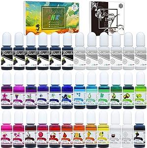 24 Alcohol Ink Set Plus 6 White & 6 Black Alcohol Inks - 36 Alcohol-Based Ink for Resin Petri Dish Making, Epoxy Resin Painting - Alcohol Color Dye for Resin Art, Tumbler Making - 0.35oz Each