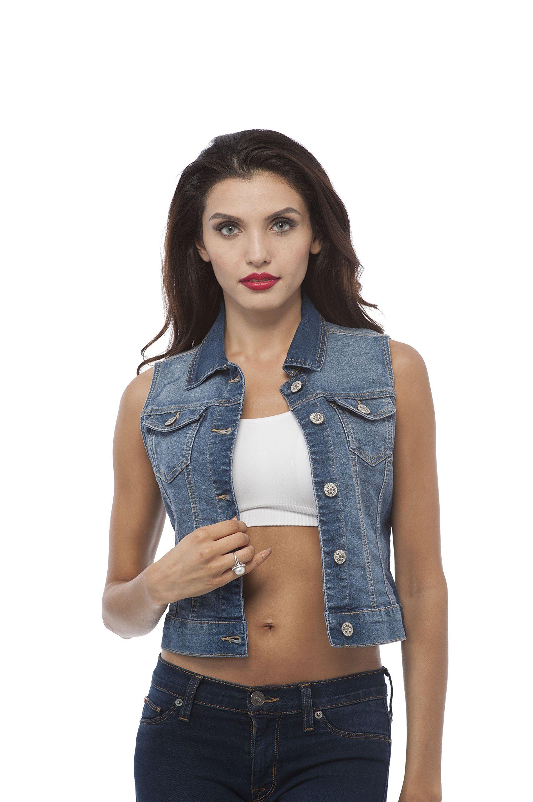 Hollywood Star Fashion Sleeveless Button up Jean Denim Jacket Vest (Large, Medium Blue)