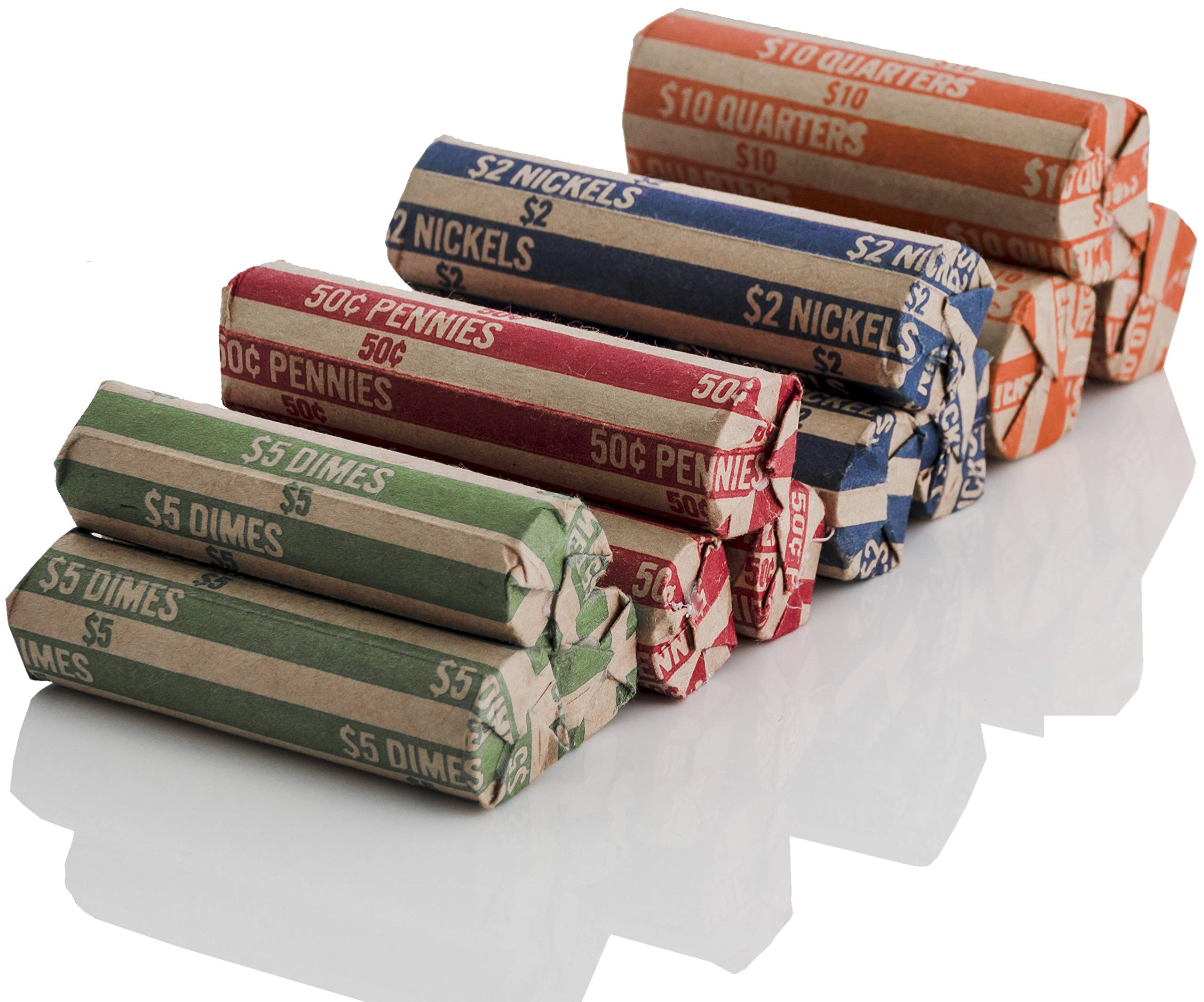 J Mark 100 Count Assorted Flat Coin Roll Wrappers, 25 Each of Quarter, Penny, Nickel and Dime Rollers and J Mark Coin Deposit Slip