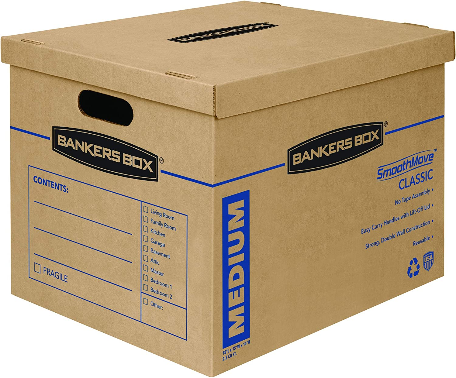 Bankers Box SmoothMove Classic Moving Boxes, Tape-Free Assembly, Easy Carry Handles, Medium, 18 x 15 x 14 Inches, 10 Pack (7717204) : Office Products