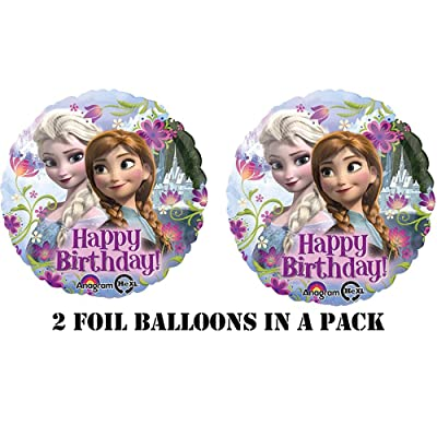 "Disney's Frozen Happy Birthday Foil Balloons 18"" (2 Balloons): Office Products"