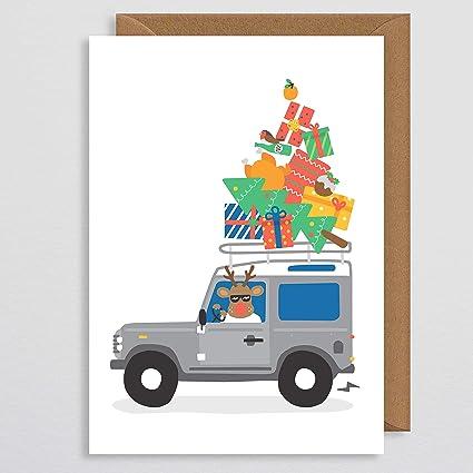 Tarjeta de Navidad para papá – Tarjeta de Navidad Land Rover – Defender – Tarjeta de Navidad para el país – granja – Tarjeta de Navidad para los ...