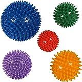 POWRX Lot de 5 boules de massage à pique - Balle de massage - Balle hérisson/Utilisé en physiothérapie ou pour les exercices de relaxation