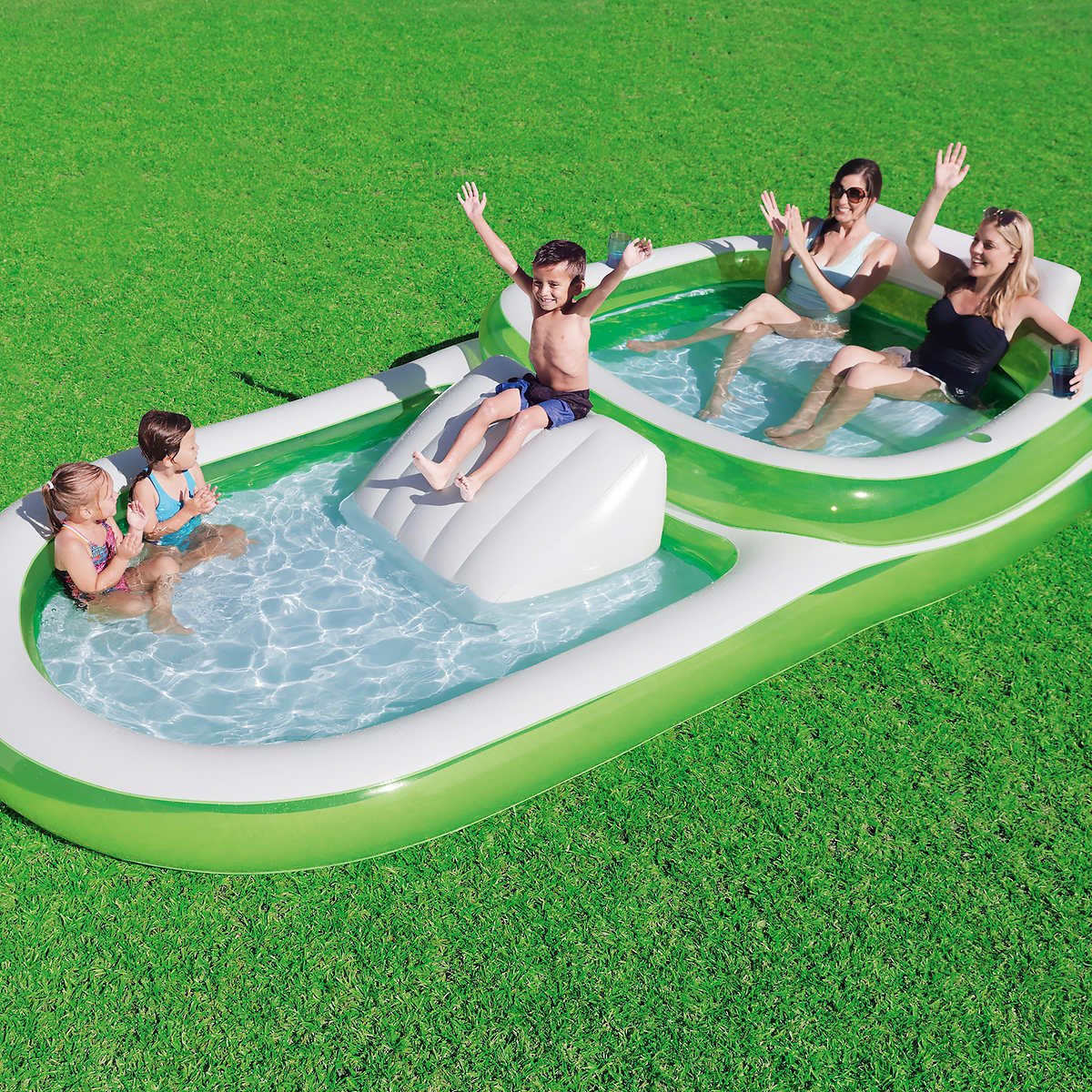 Bestway H2OGO! Two-In-One Wide Inflatable Family Outdoor Pool