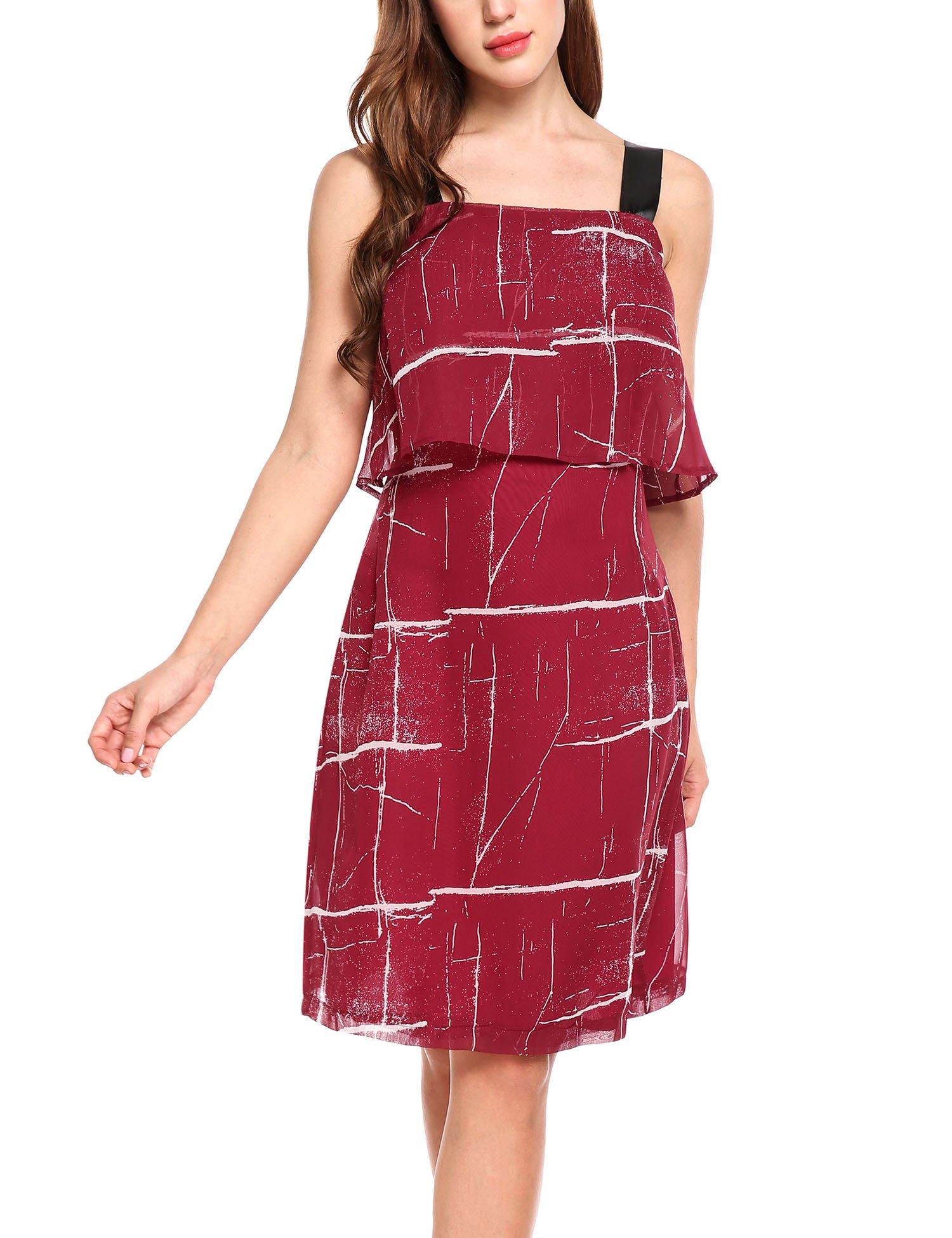 Zeagoo Women's Casual Chiffon Sleeveless Plaid Strap Tiered-Top Sun Dress