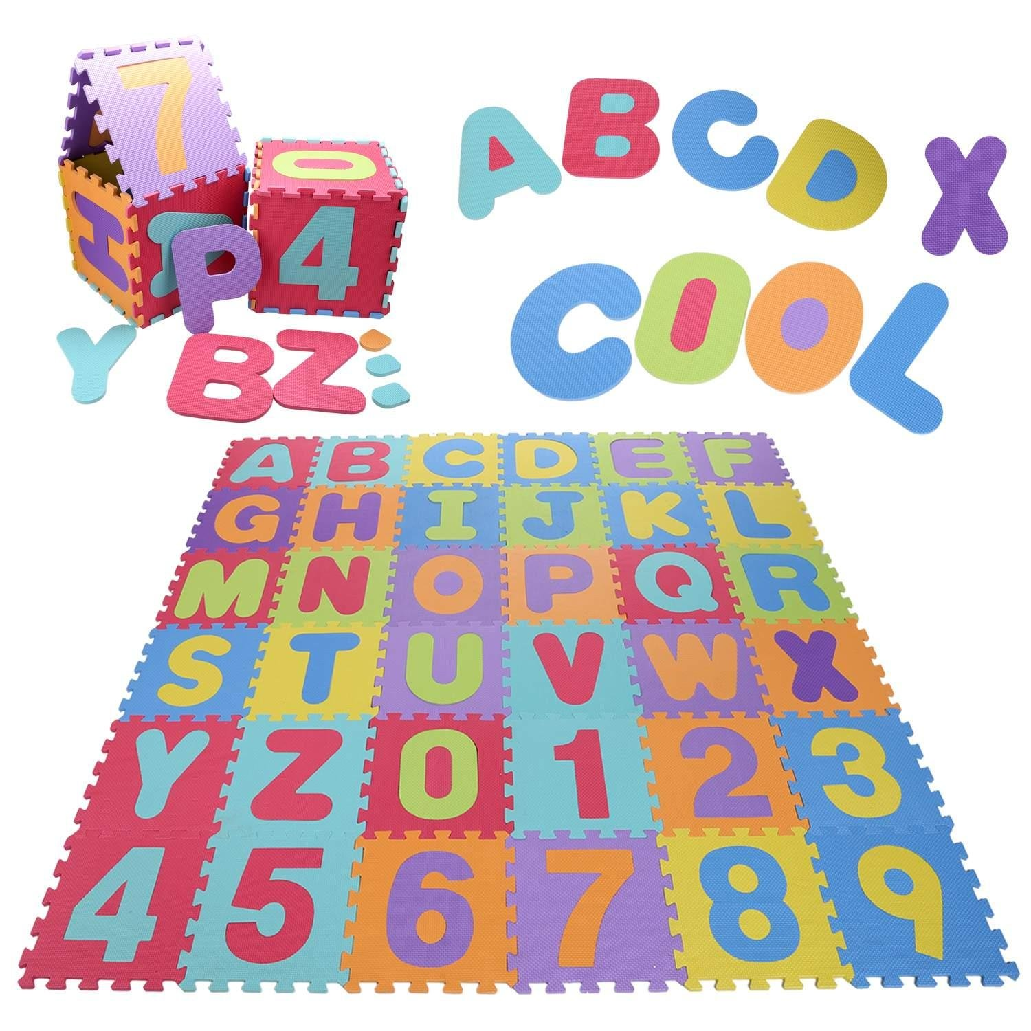 Lantusi 36pcs Eva Kids Foam Play, Alphabet ABC Plus Numbers Puzzle Mat Non-toxic Baby Foam Mat for Learning and Counting