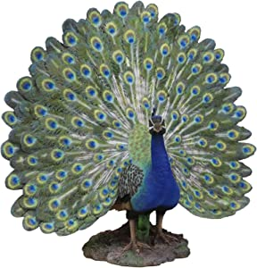 """Ebros Large Gallery Quality Male Peacock Fanning His Beautiful Sculpted Iridescent Train Quill Feathers Plumage Statue 22"""" Wide Decorative Home Decor Wild Birds Peacocks Peafowls Detailed Sculpture"""