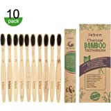Bamboo Toothbrushes, 10 Pcs Bamboo Toothbrushes with Eco-Friendly Paper Packaging and Soft BPA Free Bristles