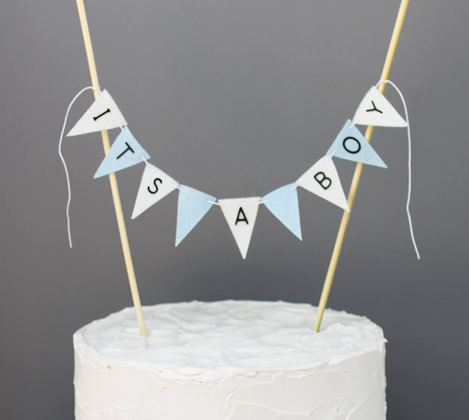 Amazon Blue and White Its a Boy Cake Banner Topper Baby