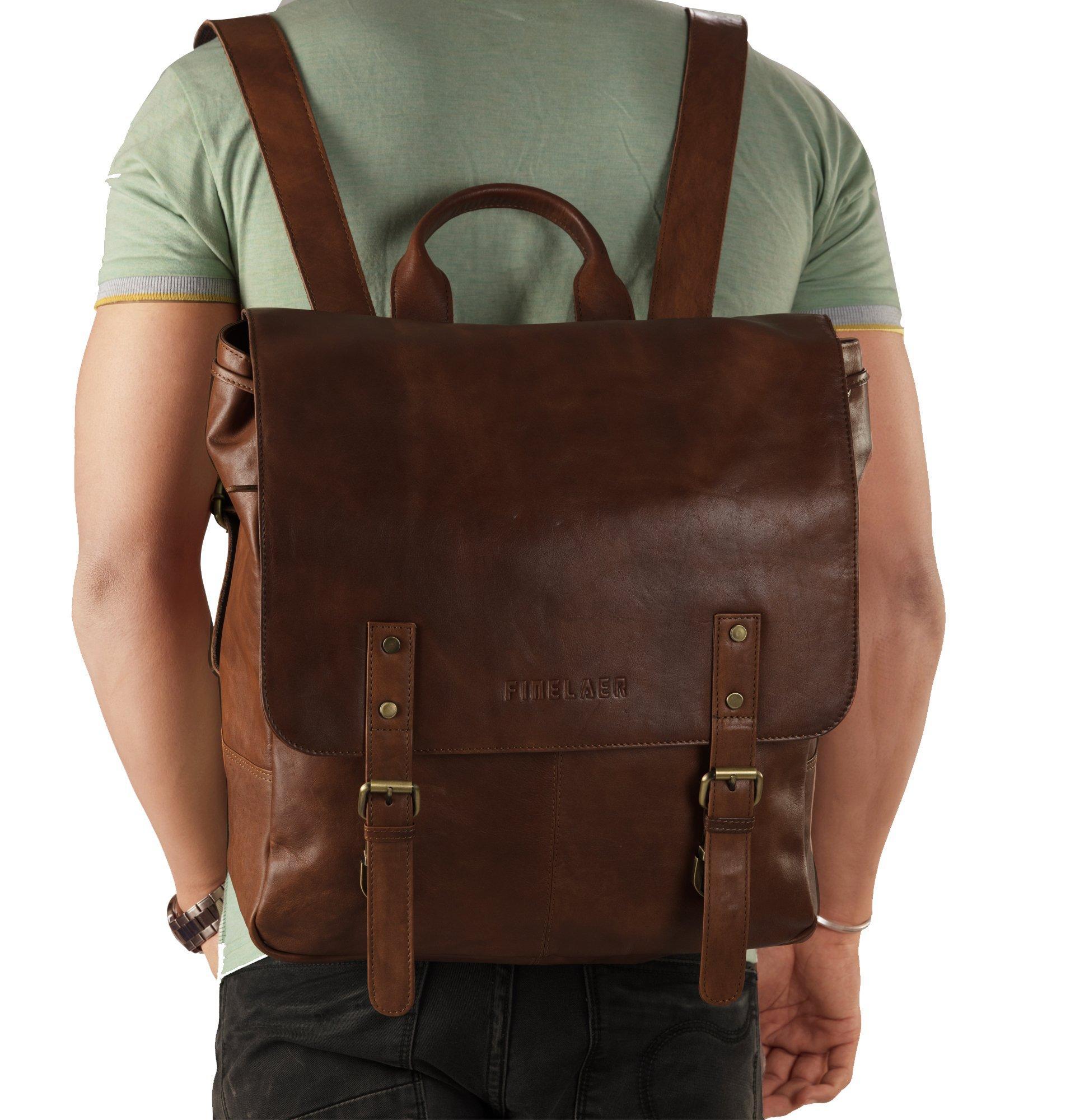 Finelaer Vintage Brown Laptop Backpack Daypack Rucksack Travel Hiking Bag Men Women by FINELAER (Image #3)
