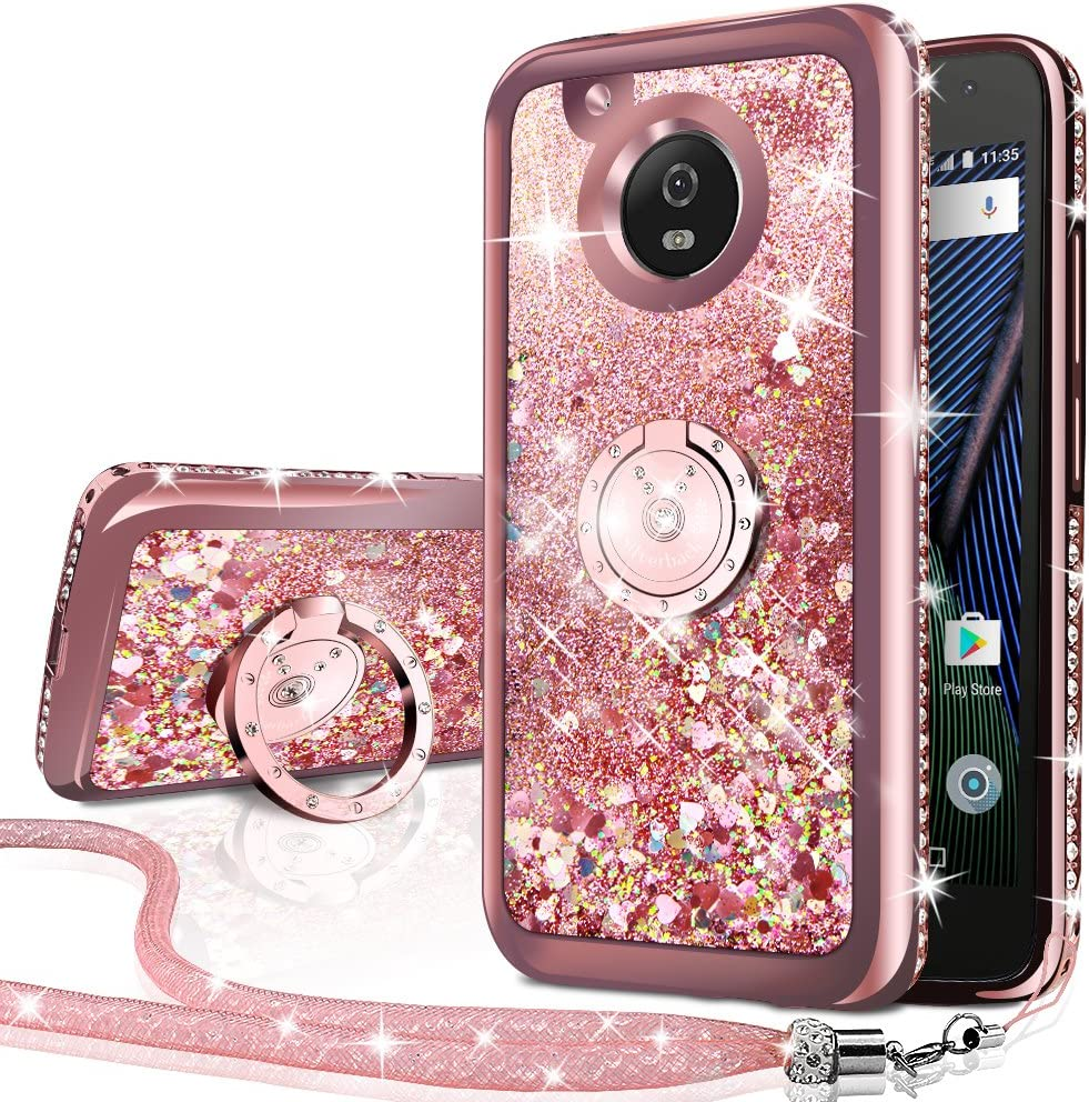 Moto G5 Plus Case, Moto X 2017 Case,Silverback Moving Liquid Holographic Sparkle Glitter Case With Kickstand, Bling Diamond Rhinestone Bumper Slim Motorola Moto G5 Plus Case for Girls Women -Rose Gold