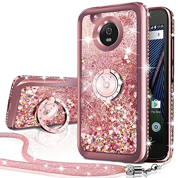 reputable site cce40 3d4b5 Moto G5 Case, Silverback Moving Liquid Holographic Sparkle Glitter Case  With Kickstand, Bling Diamond Rhinestone Bumper W/Ring Stand Slim  Protective ...