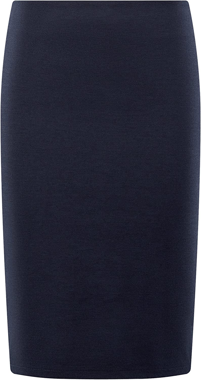 oodji Collection Mujer Falda de Punto con Abertura