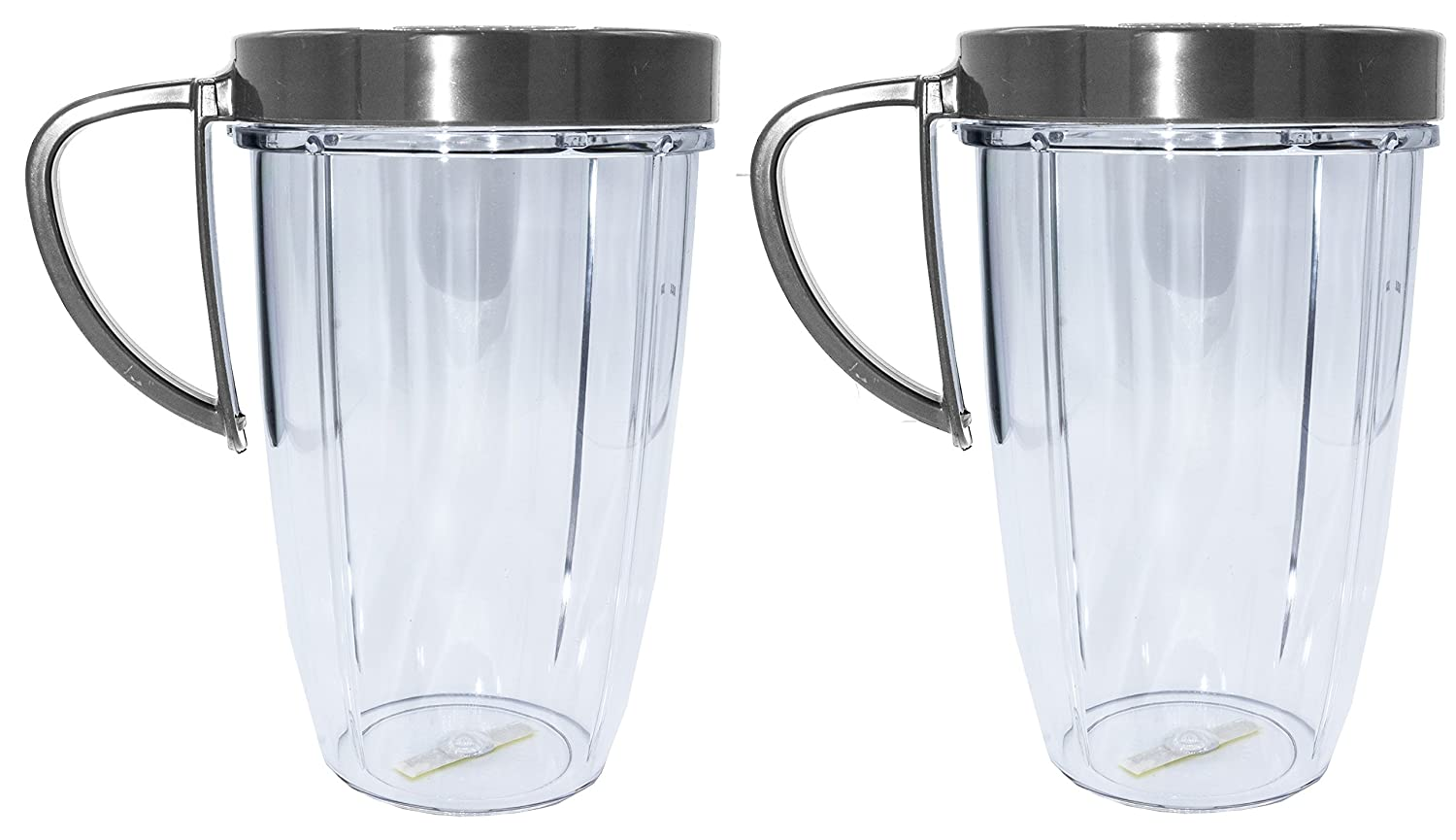 Blendin 24 Ounce Large Tall Cup Jar with Handled Lip Rings, Fits Nutribullet NBR-101B Blenders, (2 Pack)