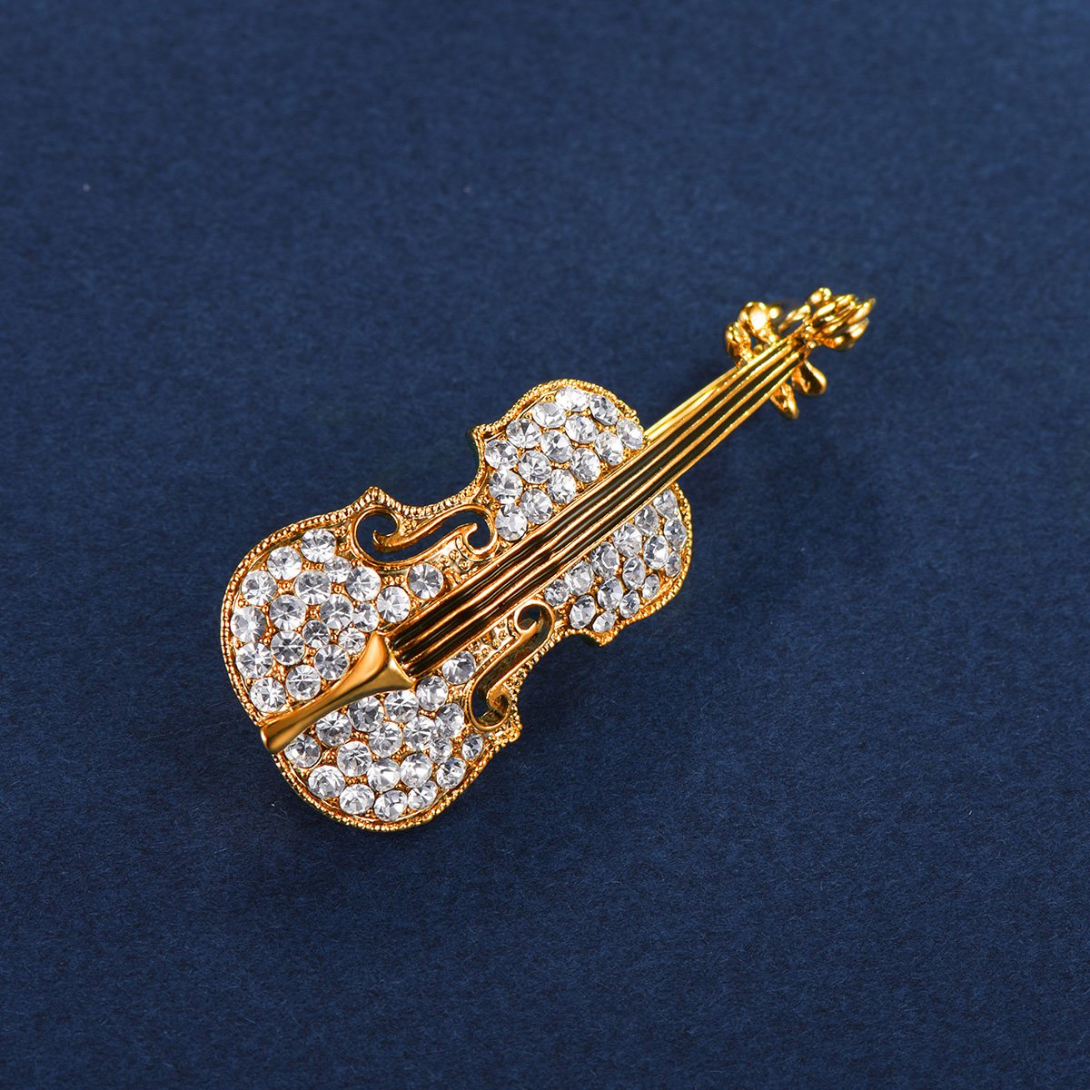 FOCALOOK Music Jewelry Gold Plated Rhinestone Crystal Violin Brooch Pin for Women Girls Art Deco Christmas Jewelry