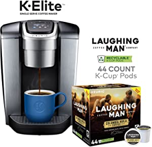 Keurig K-Elite Coffee Maker, Single Serve K-Cup Pod Coffee Brewer, Brushed Silver and Laughing Man Colombia Huila K-Cup Pods, 44 Count