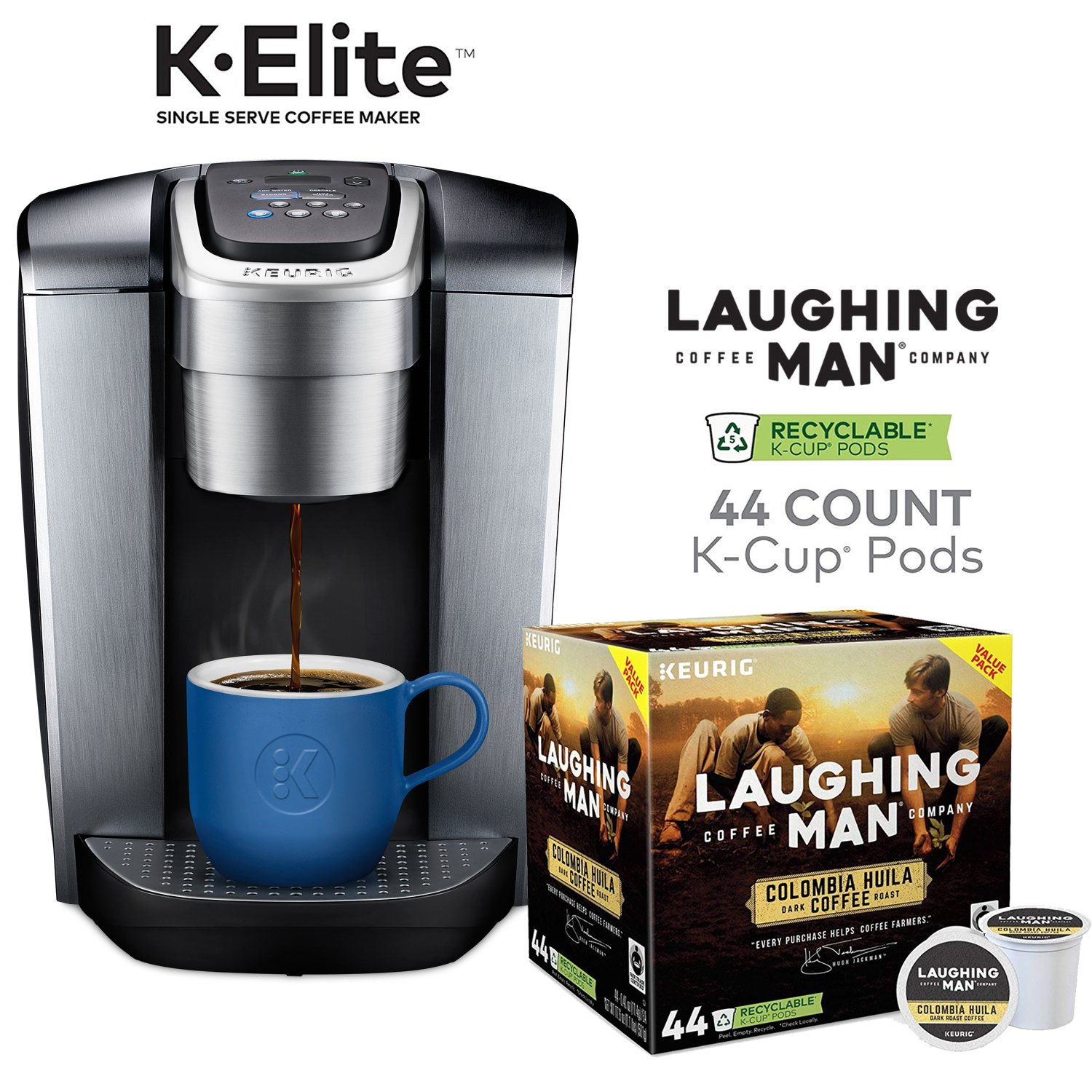 Keurig K-Elite, Brushed Silver Single Serve Coffee Maker and Laughing Man  Colombia Huila K-Cup Pods, 44 ct
