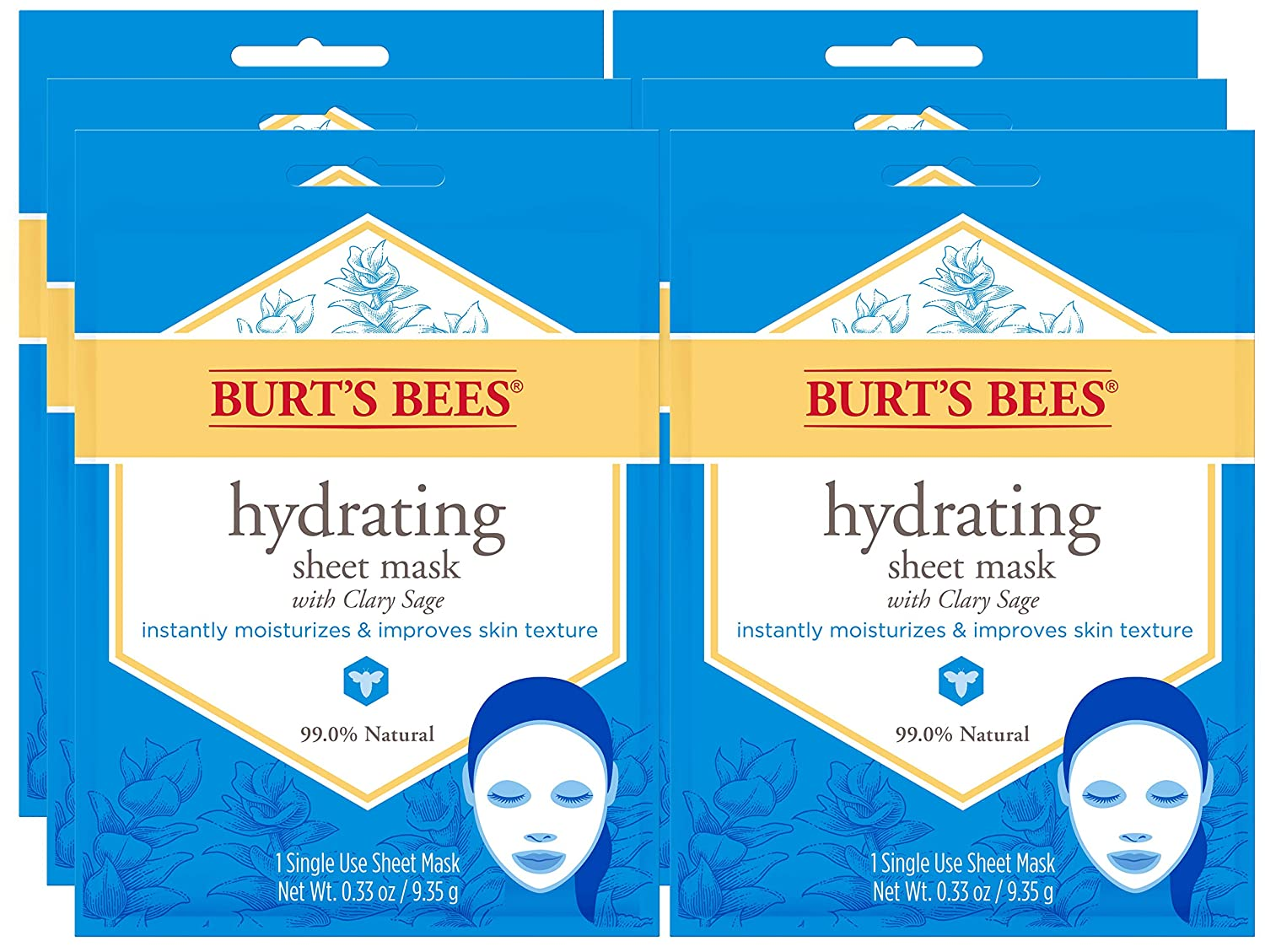 Burt's Bees Hydrating Face Mask, Single Use Sheet Mask, 6 Count: Beauty