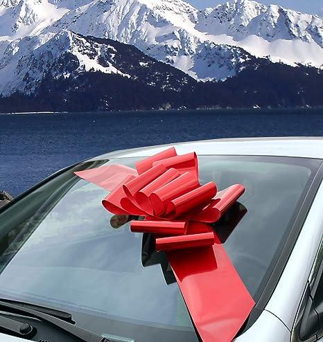 Lazo Rojo grande para el auto - Completamente ensamblado, 63 cm de ancho (25 pulgadas), Pascua, Mardi Gras, Decoración grande de regalo de Navidad, Decoración de regalo de cumpleaños: Amazon.es: Hogar