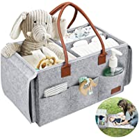PAPERKIDDO Baby Diaper Caddy Organizer with Changing Table, 2 in 1 Portable Felt Nursery Storage Bin and Car Organizer…