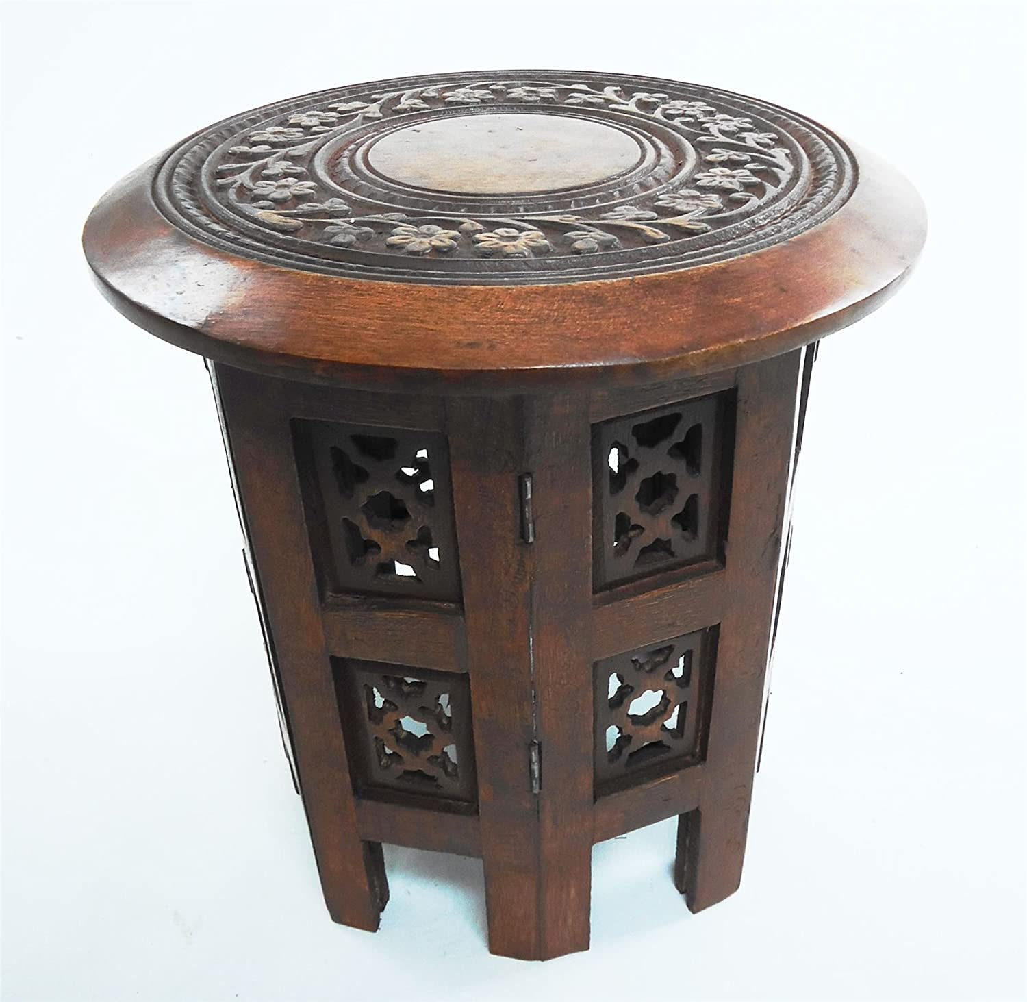 Indian Style Coffee Table Hand Carved 18 Square Side Table Moroccan Style Carving Storage