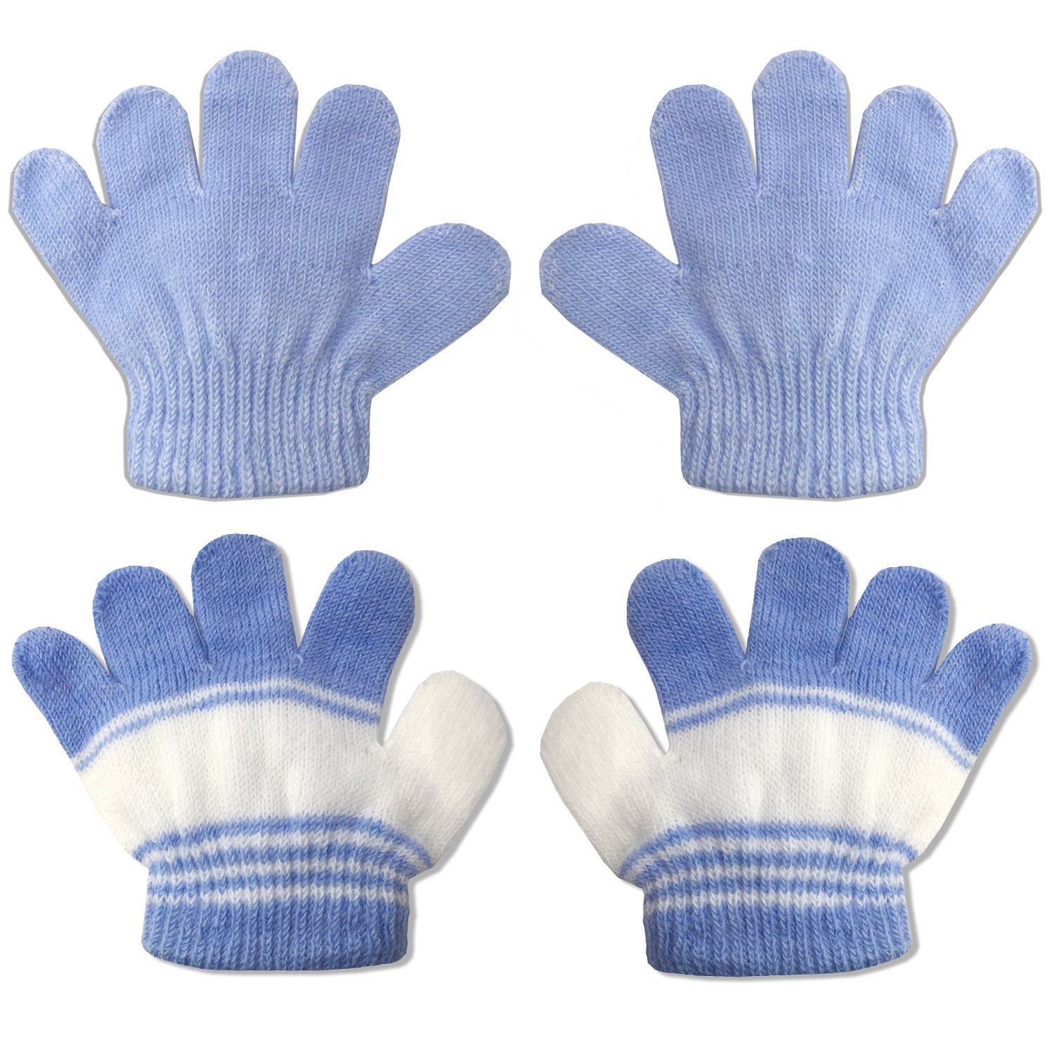 2 Pair Pack Infant to Toddler Baby Gloves Stretchy Knit Warm Winter (Ages 0-3) 4521-S-4-2PK-BLU