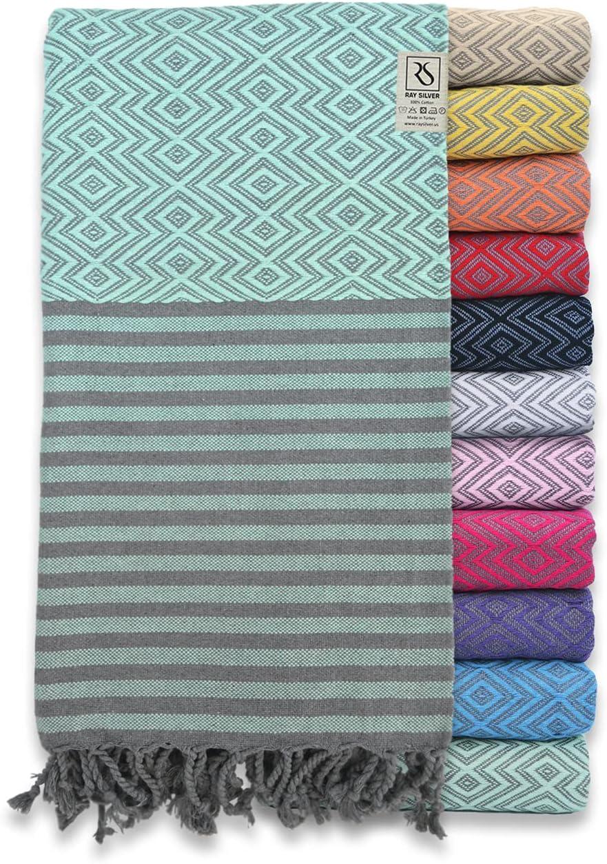 Ray Silver Premium Turkish Towel 100% Cotton Peshtemal Bath Towel 71x40(100x180 cm) Thin Light Weight Travel Camping Bath Sauna Beach Gym Pool Blanket Home Decor Quick Dry Towels (Turquoise/Grey)