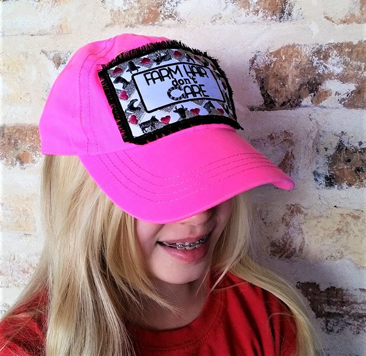 Loaded Lids Girls Farming Farm Hair Dont Care Bling Patch Baseball Cap Hot Pink