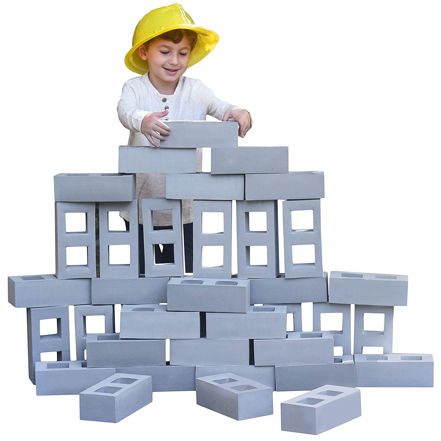 Playlearn Foam Building Blocks for Kids - 40 Pack - Jumbo Size (Not Life Size) Extra-Thick Cinder Block, Builders Set for Construction and Stacking