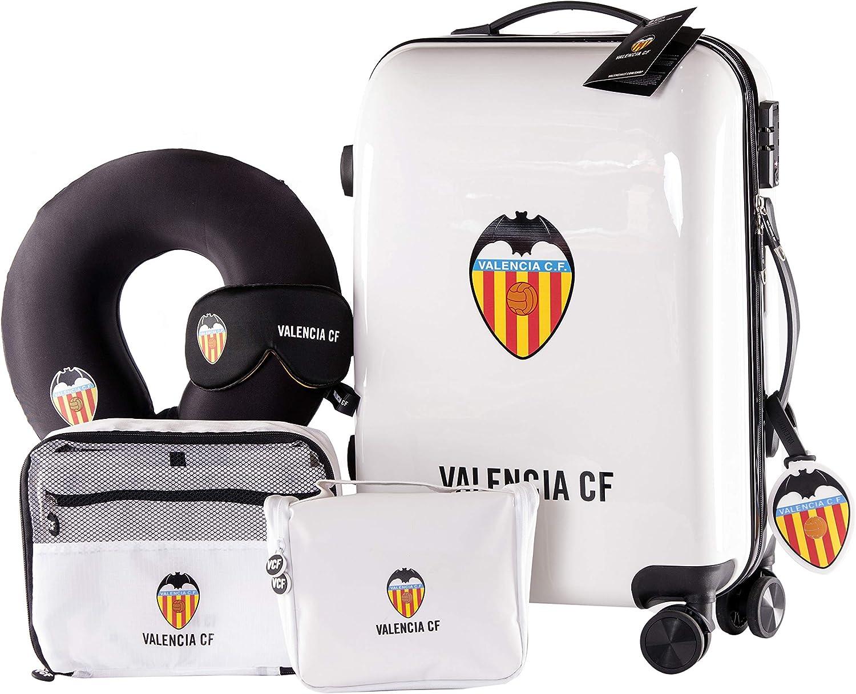 Valencia Club de Fútbol - Pack de Viaje Maleta y Accesorios - Producto Oficial del Equipo Temporada 19/20. Incluye Almohada Cervical, Organizador de Equipaje, Neceser, Antifaz y Etiqueta de Equipaje.: Amazon.es: Equipaje