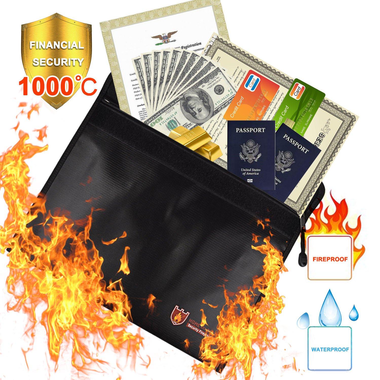 Feuerfeste Dokumententasche(38*28cm), Hitzebestä ndige Wasserdicht Umschlag Tasche,Wasserdichte Dokumententasche (Silber 38x28cm(BxL)) Dewel