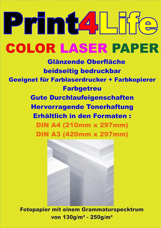 250 hojas de 250g / m² láser color A4. Papel brillante, de doble cara de impresión de fotos para las impresoras láser color y - copiadora. El papel ...