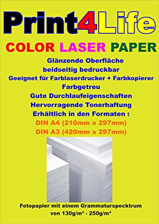 250 hojas de 130g / m² láser color A4. Papel brillante, de doble ...