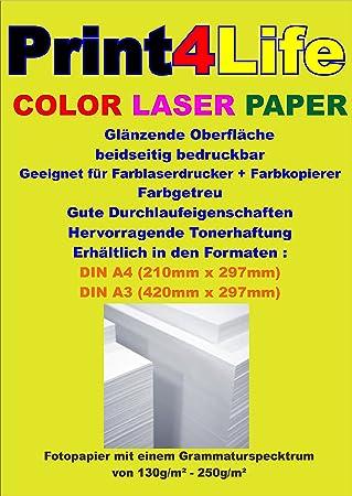 250 hojas 130g Laser Color A4. Brillante, dos caras de papel ...
