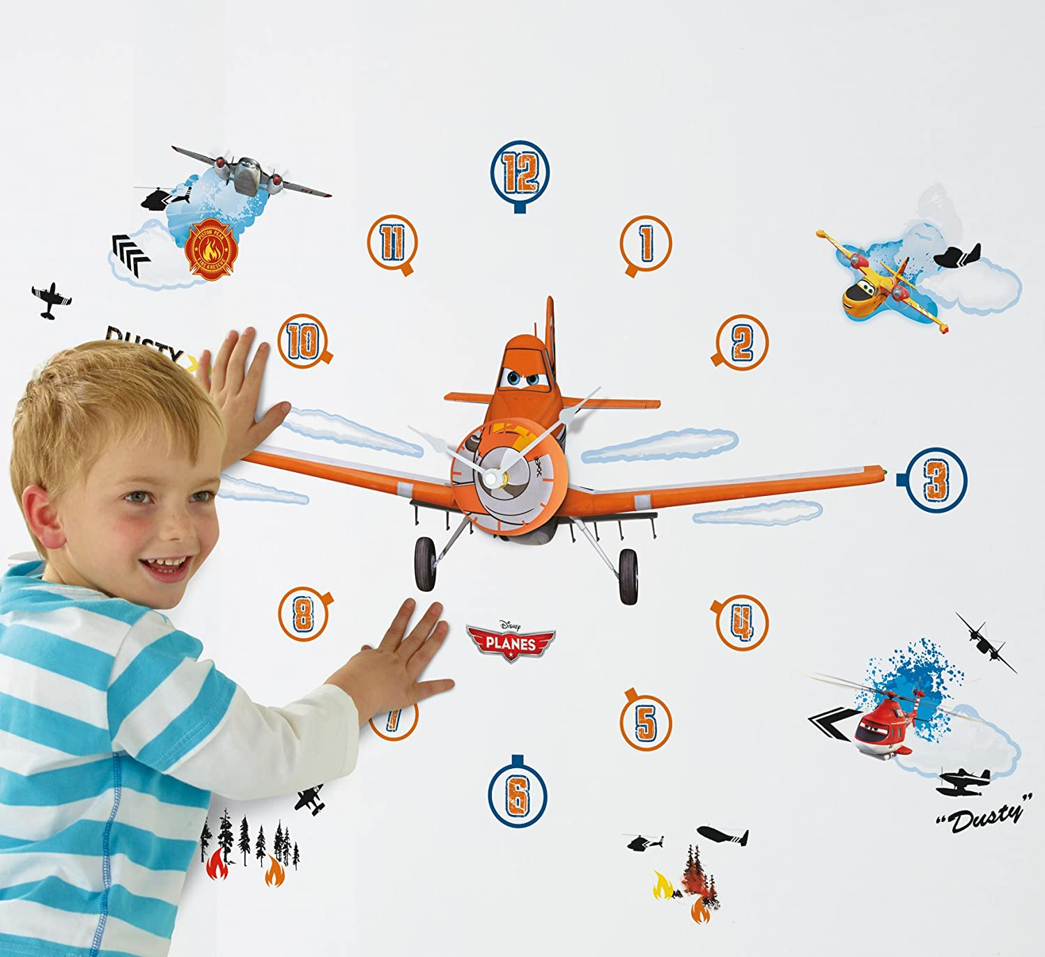 Great Disney Planes Tell The Time With Me Wall Clock Wall Sticker, Blue:  Amazon.co.uk: Kitchen U0026 Home Part 15