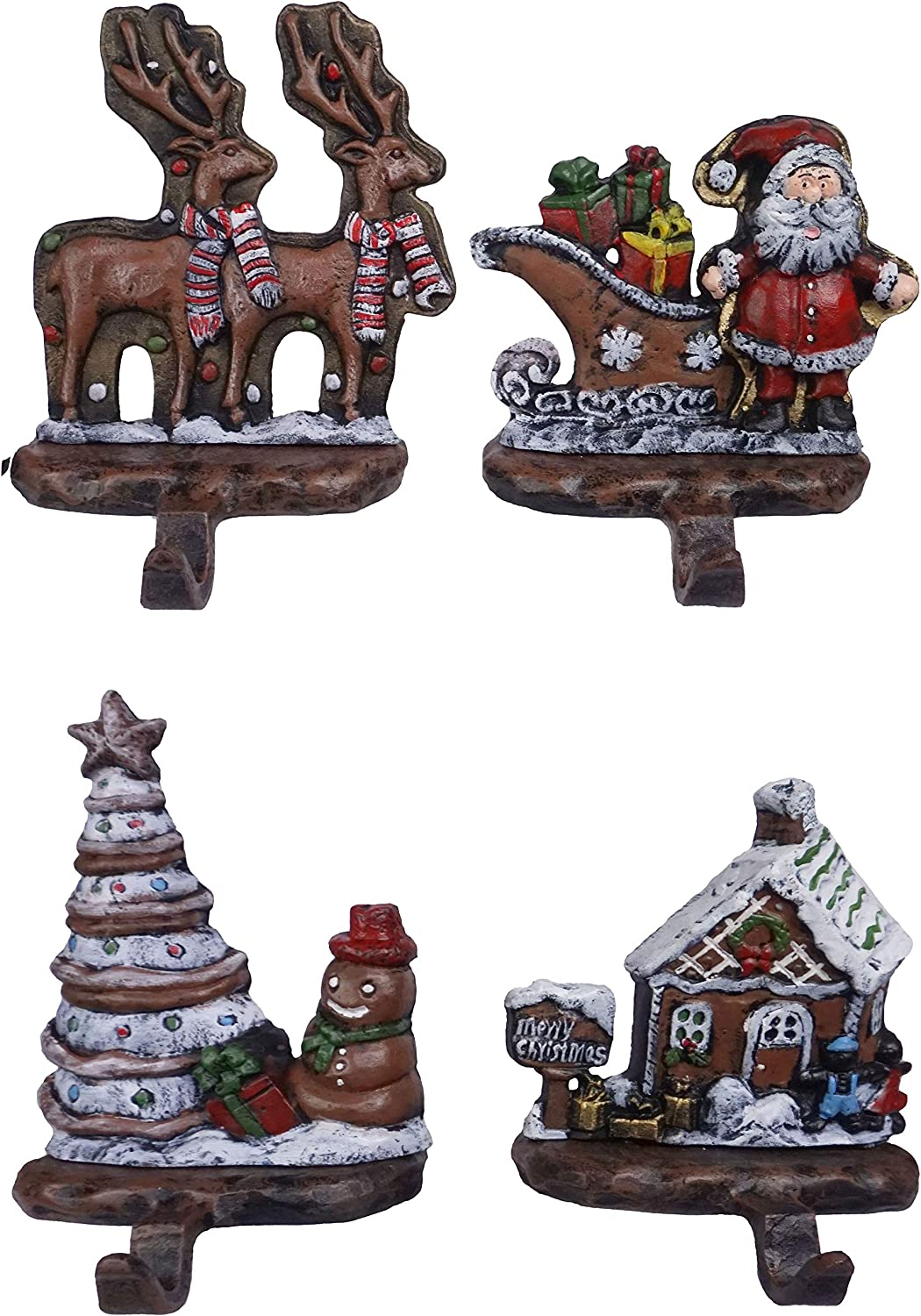 Lulu Decor, Gingerbread Stocking Holders, Decorative Christmas Hooks in Set of 4, Beautiful,Strong Hooks Made of 100% cast Iron (Ginger Bread)