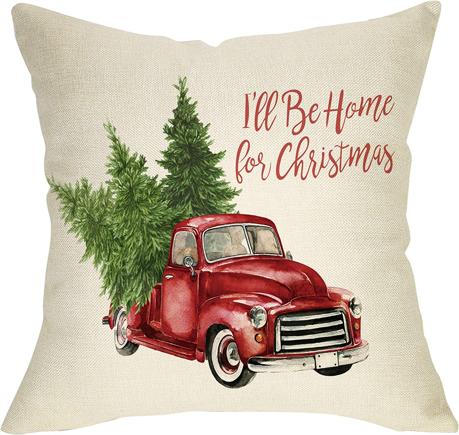 """Softxpp Christmas Farmhouse Decorative Throw Pillow Cover Vintage Red Truck with Tree Winter Holiday Decoration I'll Be Home for Xmas Sign Decor Cushion Case for Sofa Couch 18"""" x 18""""Cotton Linen"""