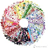 RayLineDo 50X Different Pattern Patchwork 100% Cotton Poplin Fabric Bundle Squares of 1010cm Quilting Scrapbooking Artcraft Project Collection One