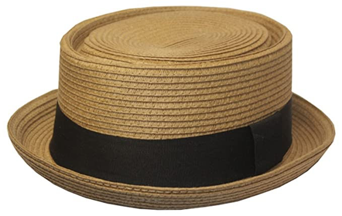 8089cc53bf4 EH02EH - Mens Structured 100% Paper Straw Flat Top Pork Pie Fedora Hat -  Light