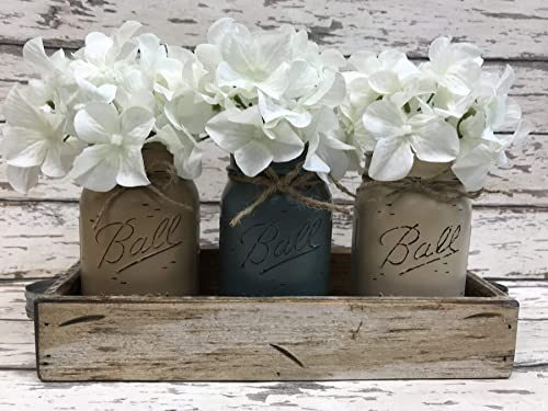 Pictured Mason Canning JARS in Wood Antique White Tray Centerpiece with 3 Ball Pint Jar Distressed Rustic Kitchen Table Decor TURQUOISE Blue Painted Jars Optional Flowers - SOFT GRAY
