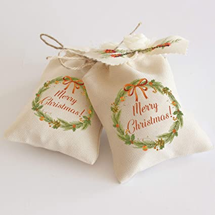 party favor bags CHRISTMAS STOCKING Merry Christmas Set of 10 Personalized Favor Bags holiday
