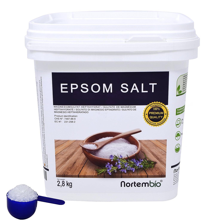 Sal de Epsom NortemBio 2,8kg, Fuente concentrada de Magnesio, Sales 100% Naturales. Baño y Cuidado Personal.: Amazon.es: Hogar