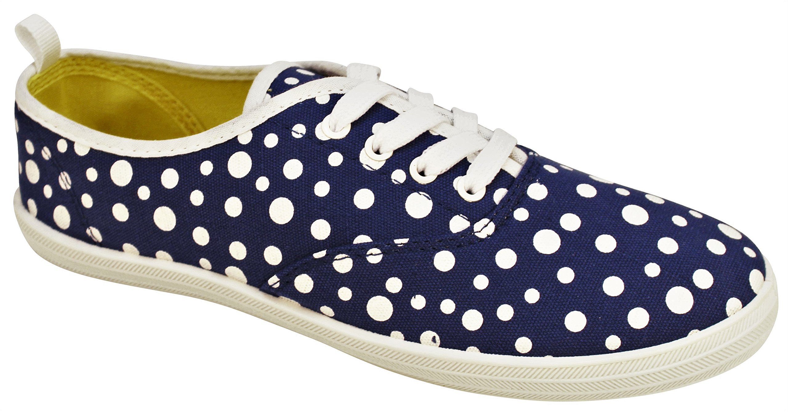 Take A Walk in Womens Fashion Canvas Lace-up Sneaker צ Prints and Mono Colors (9, Royal Blue Dot)