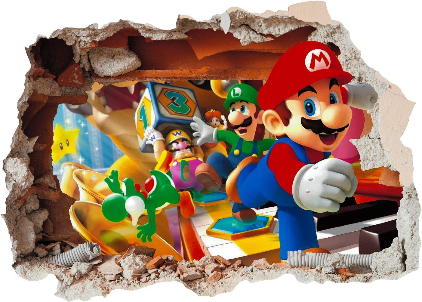 Small 280 x 200mm ss40014 /Vinilo adhesivo para pared de dormitorio infantil Super Mario Brothers Arte Agujero Impreso/