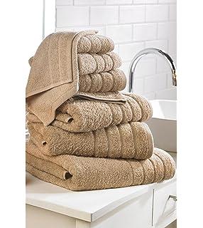 7 piezas de lujo de algodón egipcio toalla bala (moca)