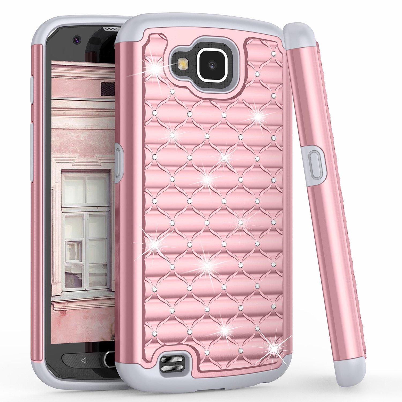 LG X Venture Case, LG X Calibur / LG V9 Cute Case For Girls Women, TILL(TM) Studded Rhinestone Crystal Bling Diamond Sparkly Luxury Shock Absorbing Hybrid Defender Rugged Glitter Rose Gold Case Cover