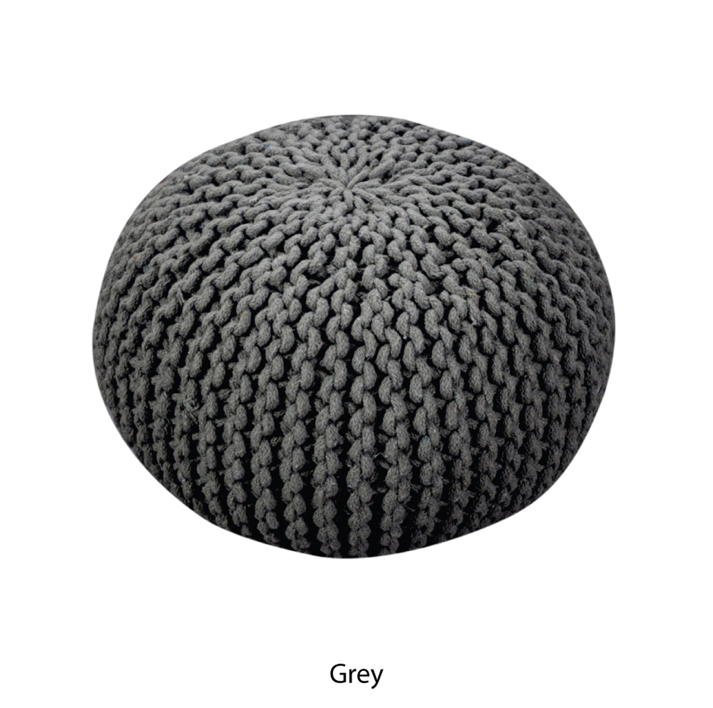 Poona Hand Knitted Artisan Round Pouf (Grey)
